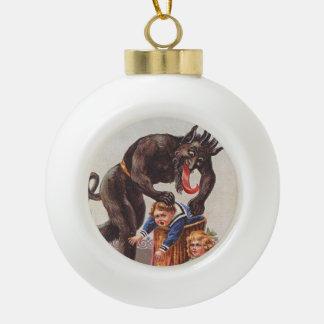 Krampus Kidnapping Children Ceramic Ball Decoration