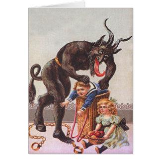 Krampus Kidnapping Children Greeting Card