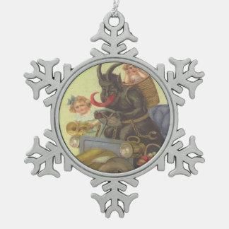 Krampus Kidnapping Children In Car Pewter Snowflake Decoration