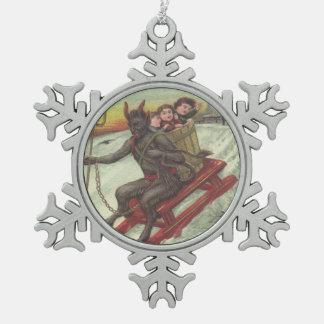 Krampus Kidnapping Children On Toboggan Pewter Snowflake Decoration