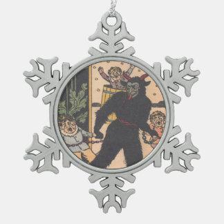 Krampus Kidnapping Children Pewter Snowflake Decoration