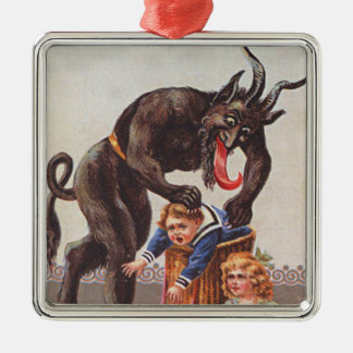 Krampus Kidnapping Children Silver-Colored Square Decoration