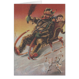 Krampus Kidnapping Children Sleigh Card