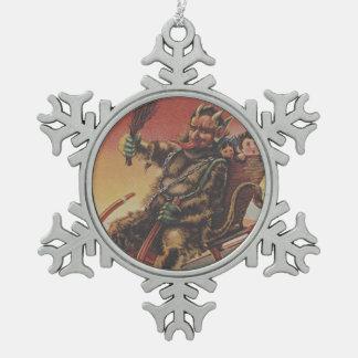 Krampus Kidnapping Children Sleigh Pewter Snowflake Decoration