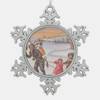 Krampus Kidnapping Children Winter Snowflake Pewter Christmas Ornament
