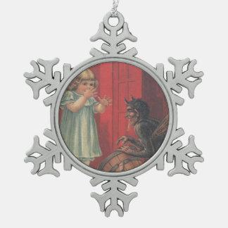 Krampus Kidnapping Girl Pewter Snowflake Decoration