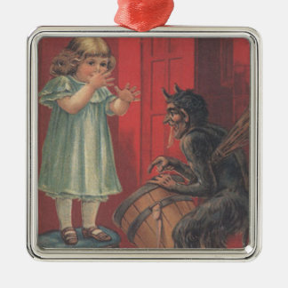 Krampus Kidnapping Girl Silver-Colored Square Decoration