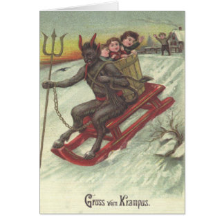 Krampus Kidnapping Kids On Sleigh Card