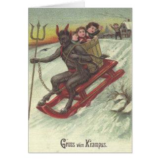 Krampus Kidnapping Kids On Sleigh Greeting Card