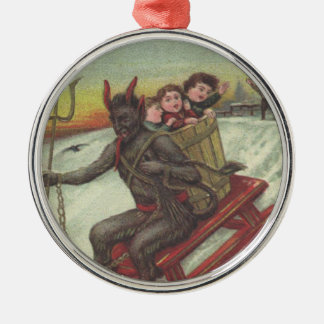 Krampus Kidnapping Kids On Sleigh Pitchfork Silver-Colored Round Decoration