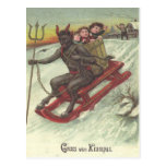 Krampus Kidnapping Kids On Sleigh Post Card