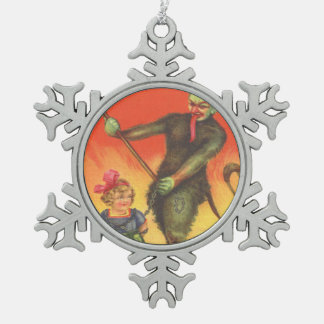Krampus Kidnapping Little Girl Pewter Snowflake Decoration