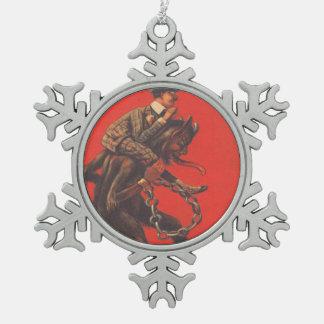 Krampus Kidnapping Man Snowflake Pewter Christmas Ornament