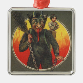 Krampus Kidnapping Woman Silver-Colored Square Decoration