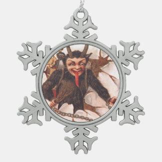 Krampus Kidnapping Women Snowflake Pewter Christmas Ornament