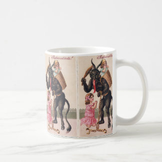 Krampus Kidnaps Girls Vintage Holiday Christmas Coffee Mug