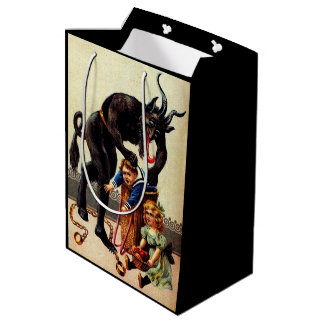 Krampus Kids in Basket Christmas Holiday Xmas Medium Gift Bag