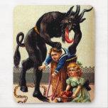 Krampus Kids in Basket Holiday Christmas Mousepad