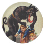 Krampus Kids in Basket Holiday Christmas Plate