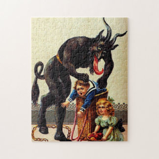 Krampus Kids in Basket Holiday Christmas Puzzle