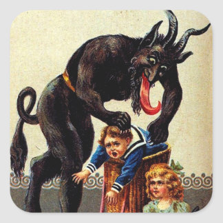 Krampus Kids in Basket Holiday Christmas Stickers