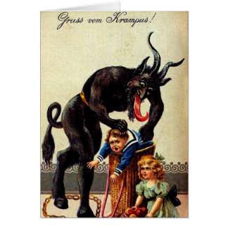 Krampus Kids in Basket Holiday Xmas Greeting Card