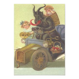 Krampus Obducting Little Girls In Car 13 Cm X 18 Cm Invitation Card