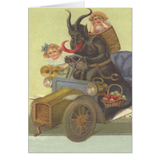 Krampus Obducting Little Girls In Car Card
