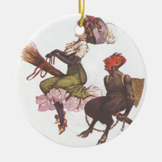 Krampus On Broom With Woman Ornaments