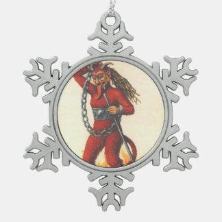 Krampus Snowflake Pewter Christmas Ornament