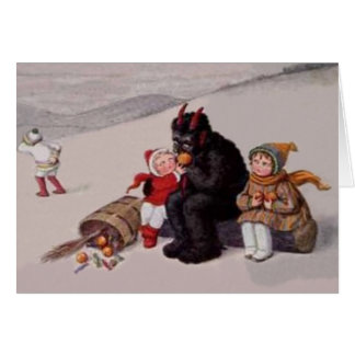 Krampus Playing With Children Snow Greeting Card