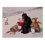 Krampus Playing With Children Snow Postcard