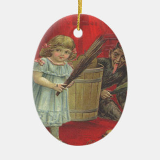 Krampus Playing With Girl Christmas Ornament