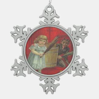 Krampus Playing With Girl Pewter Snowflake Decoration