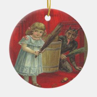 Krampus Playing With Girl Round Ceramic Decoration
