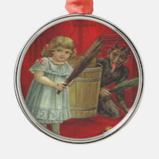 Krampus Playing With Girl Silver-Colored Round Decoration