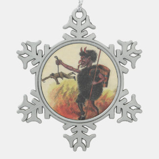 Krampus Punishing Adult Hell Snowflake Pewter Christmas Ornament