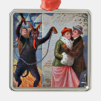 Krampus Punishing Bad Adults Silver-Colored Square Decoration