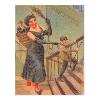 Krampus Punishing Bad Man Postcard