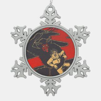 Krampus Punishing Child With Switch Pewter Snowflake Decoration