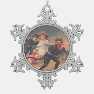 Krampus Punishing Children Hell Pewter Snowflake Decoration