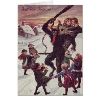 Krampus Punishing Children Snow Greeting Cards