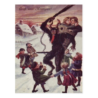 Krampus Punishing Children Snow Postcard