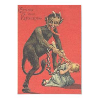 Krampus Punishing Girl 13 Cm X 18 Cm Invitation Card