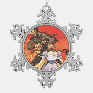 Krampus Punishing Girl Snowflake Pewter Christmas Ornament