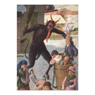 Krampus Punishing Kidnapping Children Winter 13 Cm X 18 Cm Invitation Card