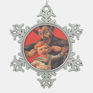 Krampus Punishing Little Boy Snowflake Pewter Christmas Ornament
