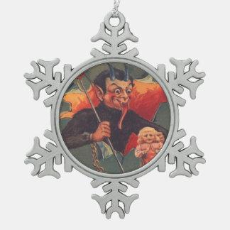 Krampus Punishing Little Girl Snowflake Pewter Christmas Ornament