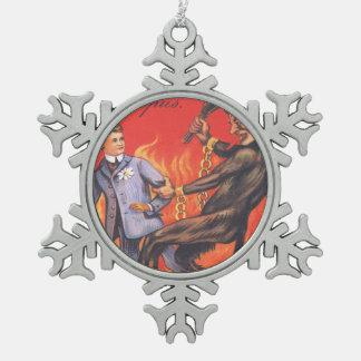 Krampus Punishing Man Hell Snowflake Pewter Christmas Ornament