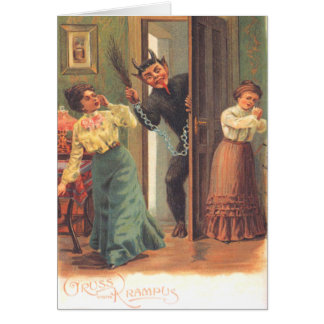 Krampus Punishing Women Greeting Card